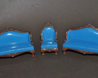 Vintage Mattel The Littles Doll House Furniture Cast Metal 2 Sofas & Chair 1980