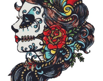 Modern Cross Stitch Kit 'Rose Red' By Illustrated Ink - Sugar Skull - Day ofthe Dead Tattoo