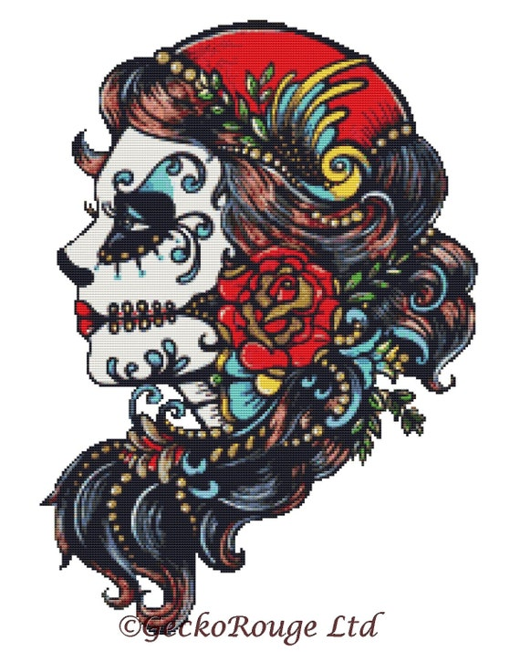 Sugar Skull Cross Stitch Kit 'Rose Red' By Illustrated Ink, Sugar Skull Tattoo, Day of the Dead Cross Stitch, Dia De Los Muertos