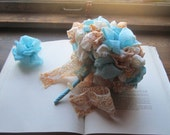 Fabric Wedding Bouquets * Bohemian Style Fabric Flowers *  Vintage Fabric Pom Bouquet *