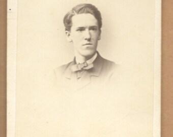 Antique CDV Photo Young Man Tax Stamp Civil War Era -Boston