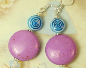 Purple Coin with opalite and blue swirl beads dangle earrings, purple magnesite, blue lampwork swirl earrings, opalite, holiday earrings