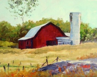 Landscape Oil Painting, Carolina Barn, 6x8 Original Oil on Canvas
