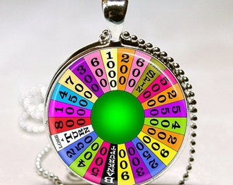 SaLe WHEEL OF FORTUNE Game Show Altered Art Glass Pendant Charm Necklace
