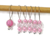 Beaded Knitting Stitch Markers Pink Snagless Knitting Tools