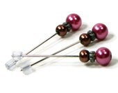 Cross Stitch Counting Pins Marking Pins Pink Brown Needlepoint DIY Crafts TJBdesigns