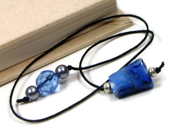 Beaded Bookmark Book Thong Book Bookmark Book Cord String Bookmark Gift under 5 Book Club Teacher Gift Blue Gray