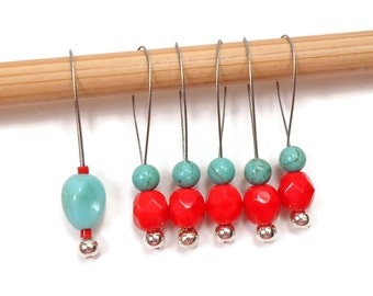 Beaded Stitch Markers Snag Free Red Turquoise Snagless DIY Knitting Supplies Gift for Knitter Goth Skull