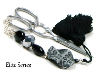 Scissor Fob Elite Series Modern Scissor Keeper Scissor Minder Black Gray Wavy Beaded