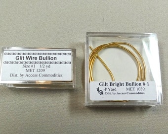 Gilt, real gold thread, wire and bright bullion, for embroidery,  goldwork