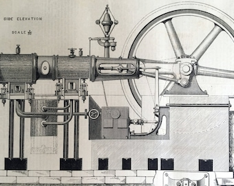 1878 Large English Antique Print of a Compound Tandem Engine - Old Engineering Drawing