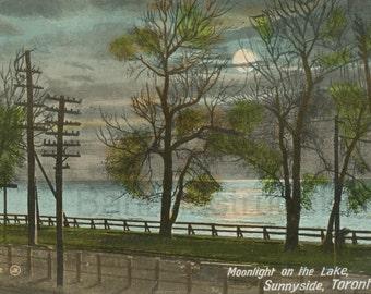 Vintage Postcard - 1911 Toronto Postcard - Sunnyside, Toronto - Moonlight on the Lake - Humber Bay - Lake Ontario