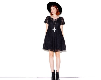 90s BLACK LACE DRESS small // sheer lace dress mini dress 90s dress witchy witch goth gothic 90s grunge 90s clothing