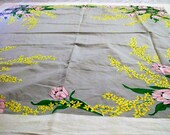 Vintage Tablecloth with Tulpis, Vintage Tablecloth, Pink Flowers, Flowered Tablecloth, Vintage Kitchen, Table Linens, 1950s