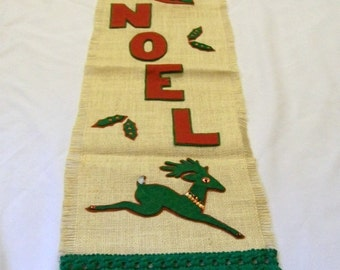 Vintage Christmas Banner, Noel Sign, Christmas Wall Hanging, Vintage Handmade,  Door Hangers, Holiday Decor