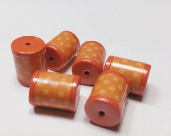 Orange Polka Dot Barrels Beads -  Paper and Polymer Clay