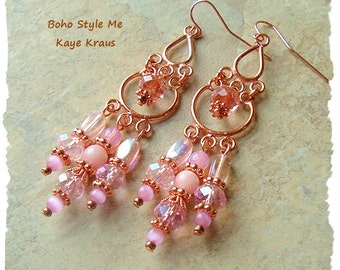 Boho Earrings, Vintage Rose Pink and Copper Chandelier Earrings, Modern Luxe Glamour, BohoStyleMe, Kaye Kraus