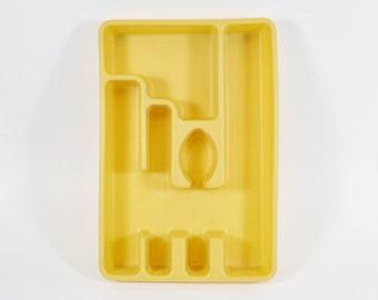 Yellow Rubbermaid Silverware Tray Flatware Organizer - Harvest Gold