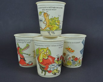 4 Riddle Fun Cups - Kids Paper Cups from Dixie Cups - 1982 - Children's Cups
