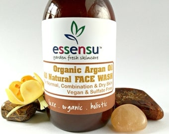 Organic Argan Oil All Natural Face Wash for Normal , Combination , Dry Skin Types | Hyaluronic Acid | Vegan | No Gluten | No Sulfates - 4 oz