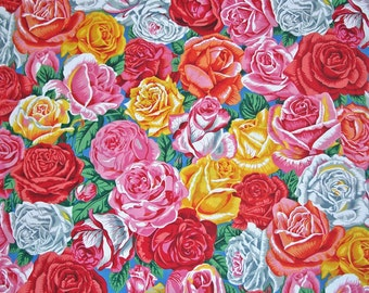 COUPON CODE SALE - Botanical, Rose Bud, Blue, Snow Leopard Designs, Rowan Westminster, 100% Cotton Quilt Fabric, Quilting