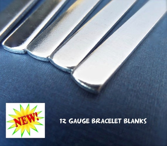 """10 Blanks 12 GAUGE 1/4"""" x 7"""" Tumbled Polished Cuffs - Very Thick Pure 1100 Aluminum Bracelet Blanks - Flat - Made in USA"""