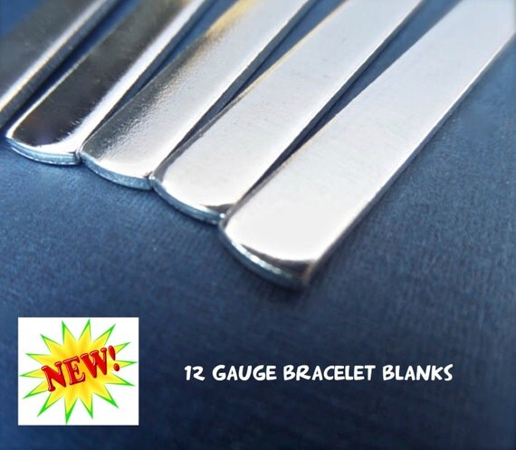 """50 Blanks 12 GAUGE 3/8"""" x 6"""" Tumbled Polished Cuffs - Very Thick Pure 1100 Aluminum Bracelet Blanks - Flat - Made in USA"""