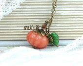 Orange Pumpkin Necklace Fall Jewelry Autumn Necklace Pumpkin Jewelry Nature Necklace Woodland Jewelry