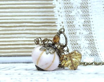 Squash Necklace White Pumpkin Necklace Autumn Necklace Fall Necklace Nature Necklace Pumpkin Gift