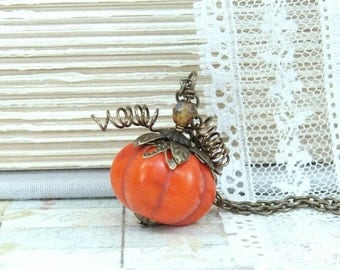 Orange Pumpkin Necklace Fall Jewelry Halloween Necklace Thanksgiving Necklace Pumpkin Jewelry