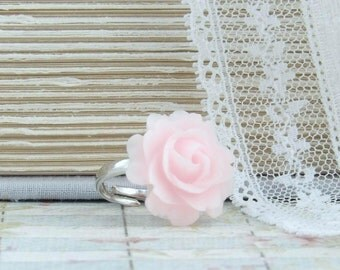 Pink Rose Ring Pastel Ring Pink Flower Ring Pink Rose Jewelry Shabby Chic Ring Rose Cabochon Ring
