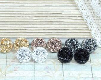 Druzy Stud Earrings Set Of 5 Earrings Druzy Set Druzy Earrings Stud Earring Set Surgical Steel Druzy Studs
