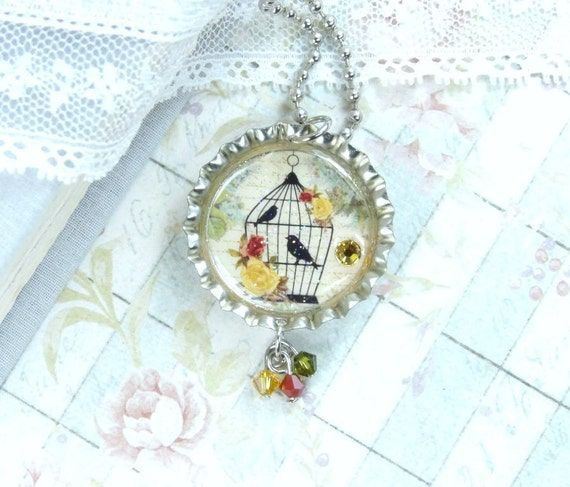 Bird Cage Necklace Black Bird Necklace Bird Lover Gift Bottle Cap Necklace Shabby Chic Necklace