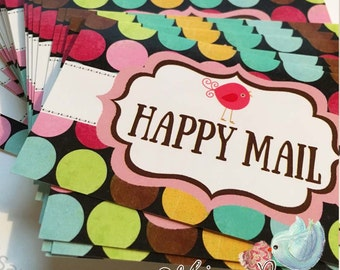 Happy Mail Stickers, Polka Dots and Bird Edition