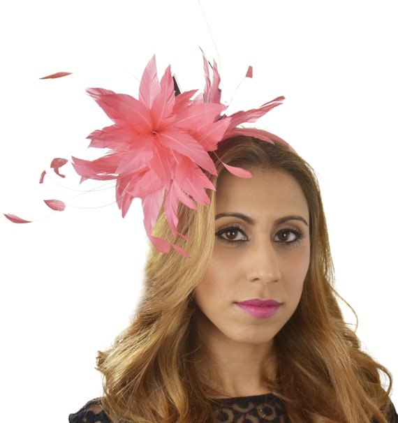 Coral Pink Feather Ascot D Fascinator Hat For Kentucky Derby