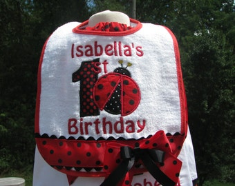 Ladybug bibs, red ladybug birthday bib, 1st birthday party, 2nd birthday party, smash cake bib,  ladybug birthday, smash cake photo