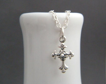 """small gothic silver cross necklace. tiny ornate cross charm. sterling silver filigree cross pendant simple faith christian jewelry 1/2"""""""