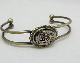 Steampunk Bracelet - In the Works - Steampunk watch parts cuff - bracelet