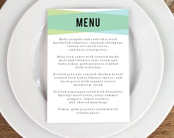 Printable Menu Template - Wedding Menu - Blue Green Geometric Menu -  Printable Menu Template - Menu Template - Menu Cards - Menu Card PDF