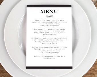 Black and White Printable Menu Template - Black Stripe Wedding Menu -  Printable Menu Template - Menu Template - Menu Cards - Menu Card PDF