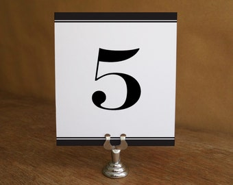 Printable Table Number - Black Stripe - Black and White Table Number Template - Wedding Table Number Printable - Table Tent Table Number PDF