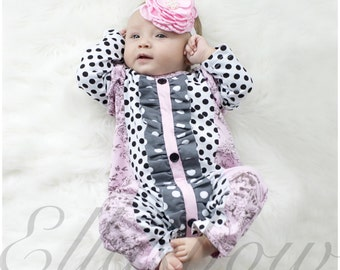 Cotton ruffle romper and floral headband.ON SALE...Ruffle romper..baby girl sleeper...romper... Hospital outfit