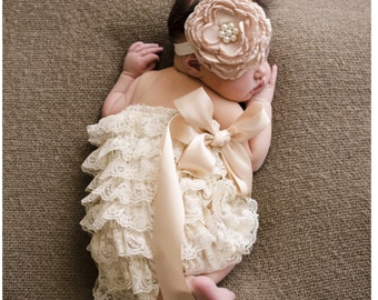 Lace Romper and Vintage flower and pearl headband.....ruffle romper....newborn photography prop....perfect for Babys first birthday
