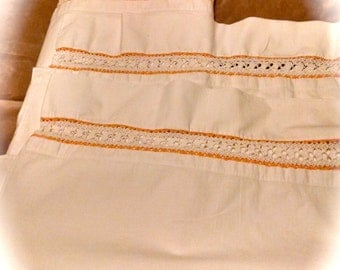 Full Double Sheet and Pillowcases Vintage Bedding  Crocheted Bedding Linens Vintage Linens   EXQUISITE  Reduced