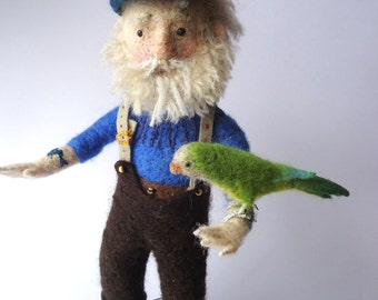 Original Needle Felted Art Doll Old Sea Salt with Parrot