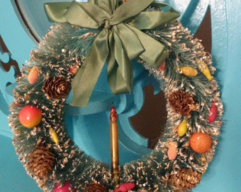 Gorgeous Mid Century Bottle Brush Wreath w Fruit Pinecones and Glass Candle