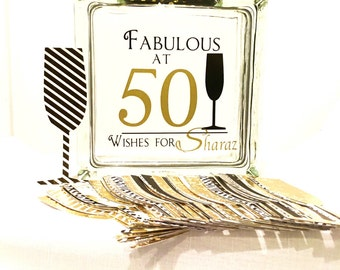 50th Birthday Wish Block - Wish Jar - Champagne Themed - Fabulous at 50  -A different twist to a Guest Book