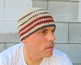 men's cotton beanie/ khaki stripe crochet