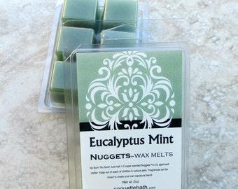 Eucalyptus Mint scented wax melts, strong paraffin wax tarts, herbal scented wax, Eucalyptus spearmint, green wax tart, spa fragrance