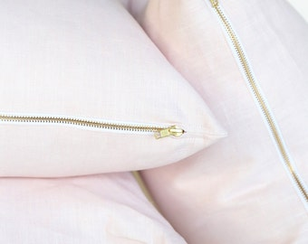 Blush Pink pillow in linen with exposed brass zipper